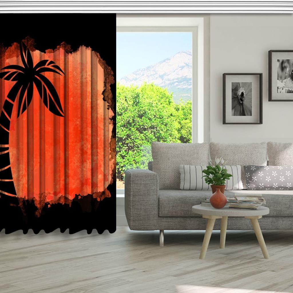 baskılı fon perde sulu boya etkili nar çiçeği palmiye desenli