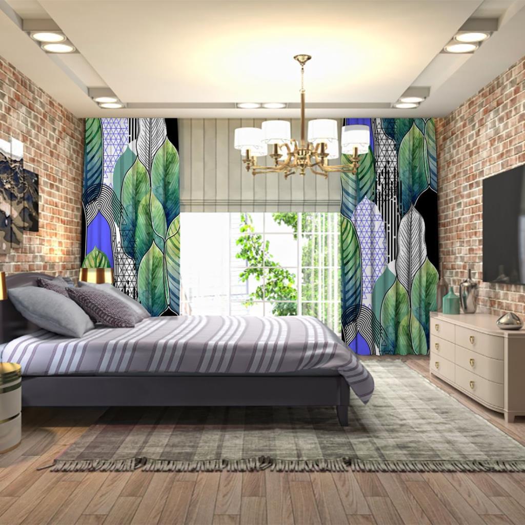 baskılı fon perde sulu boya etkili palmiye ağaç desenli