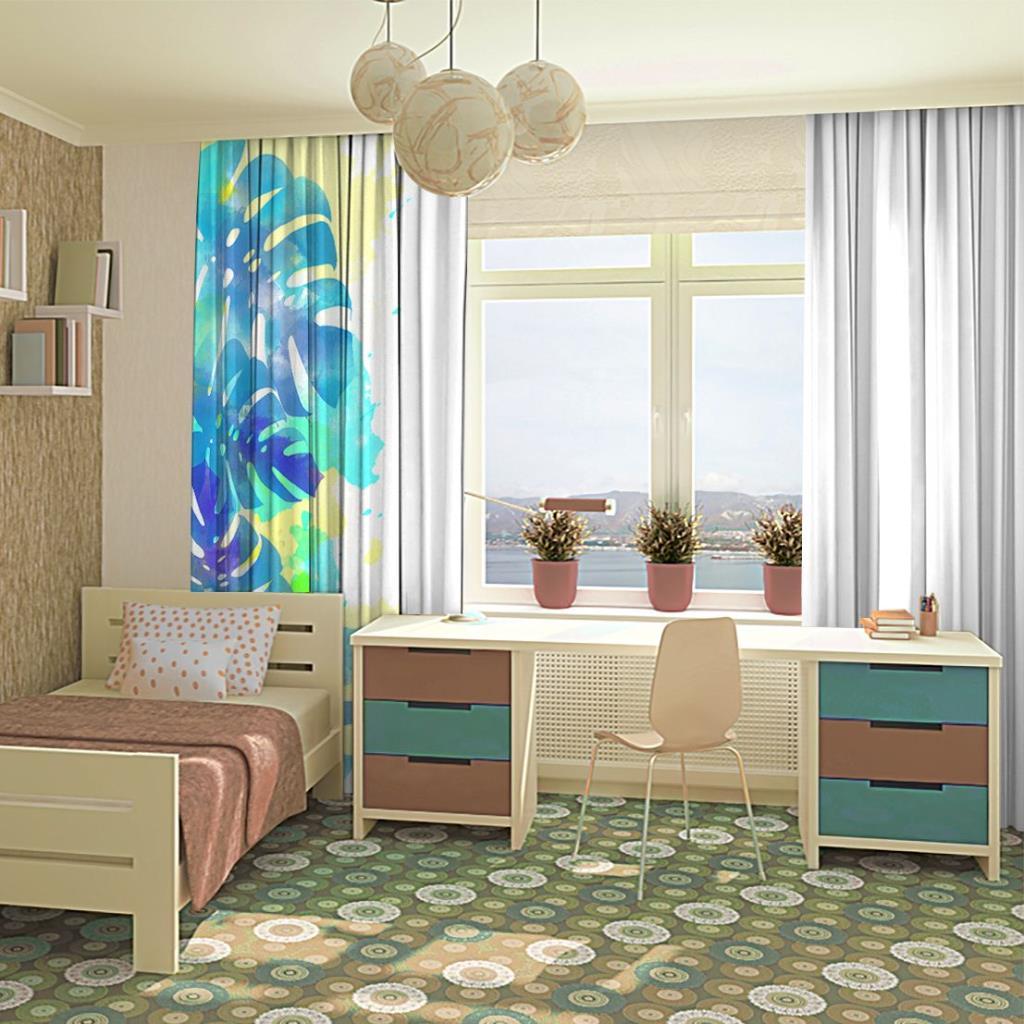 baskılı fon perde sulu boya etkili palmiye yaprak desenli