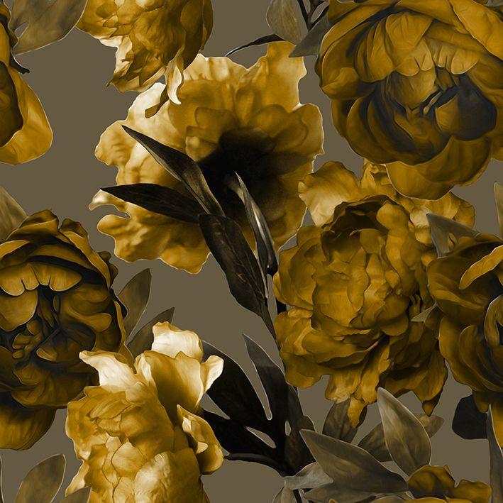 baskılı fon perde sulu boya etkili sarı çiçek desenli