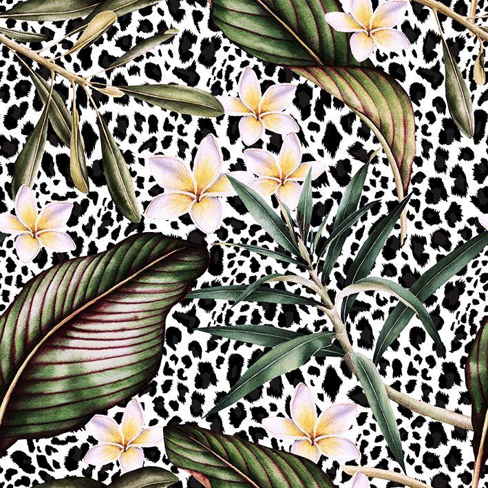 baskılı fon perde sulu boya etkili tropik çiçek desenli