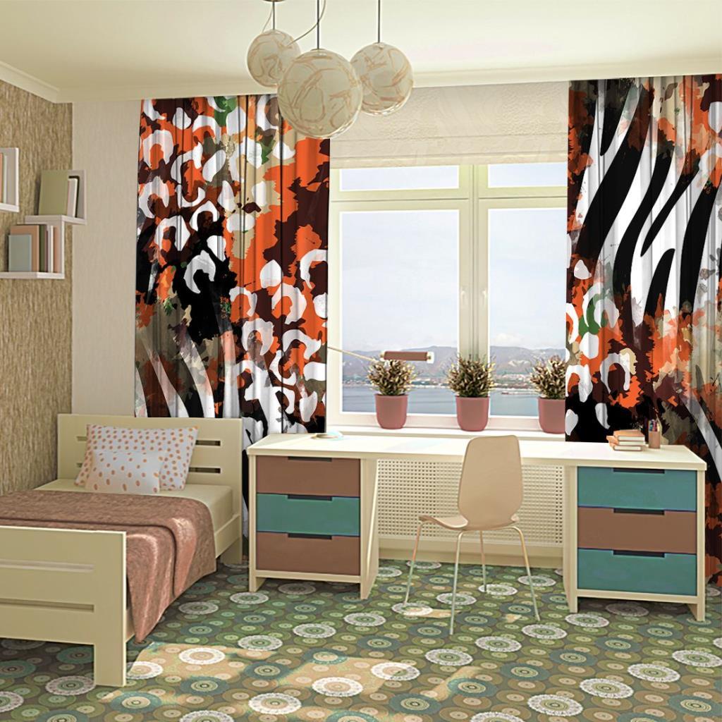 baskılı fon perde sulu boya etkili turuncu ve yeşil tonlu leopar desenli
