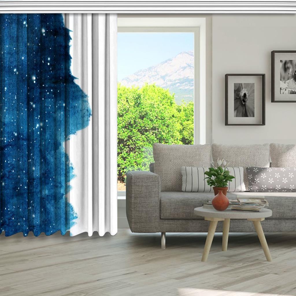 baskılı fon perde sulu boya etkili yıldız gökyüzü desenli mavi