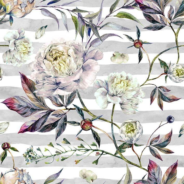 baskılı fon perde sulu boya etkili zarif çiçek çizgi desenli