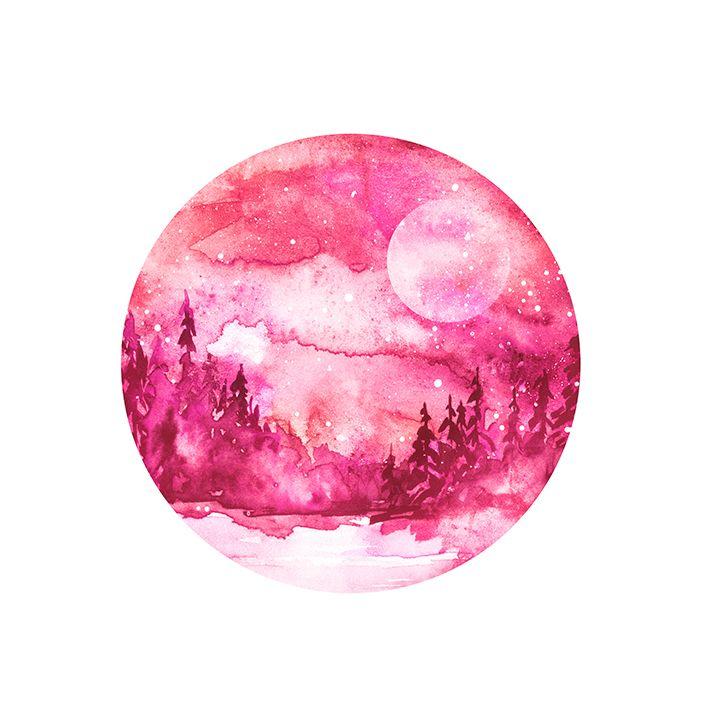 baskılı fon perde sulu boya etkilik kırmızı ağaç ay desenli
