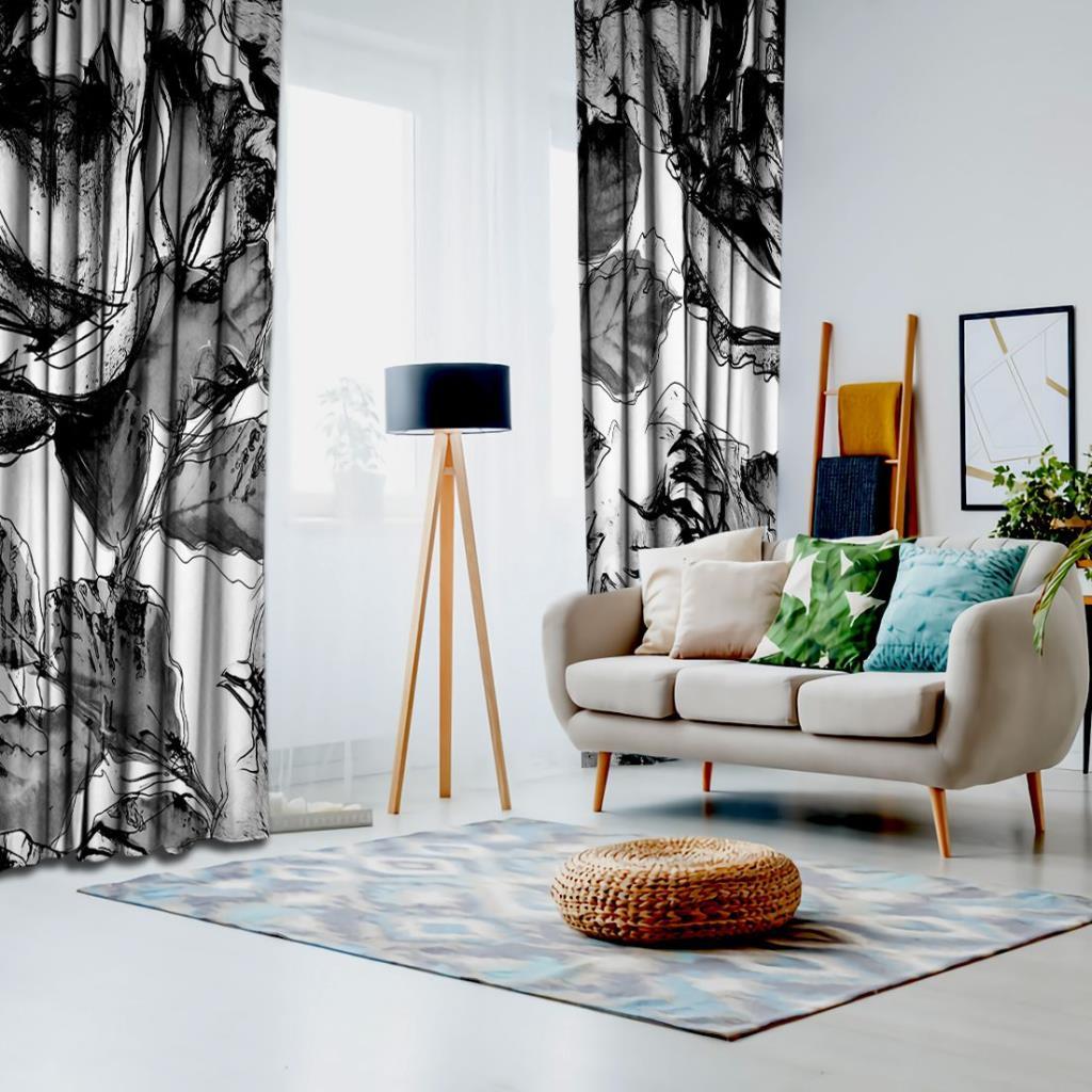 baskılı fon perde sulu boya görünümlü siyah ve beyaz desenli