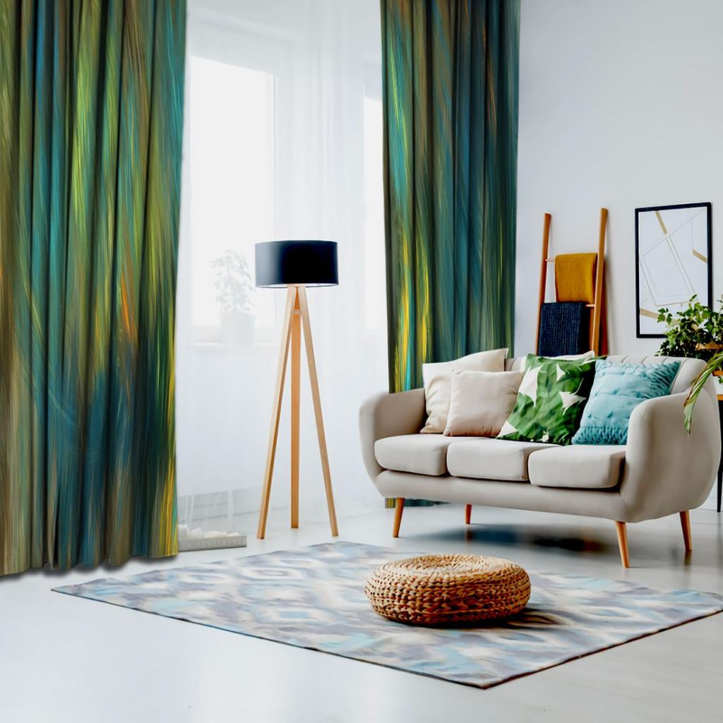 baskılı fon perde sulu boyalı mavi sarı ve yeşil vuruş desenli