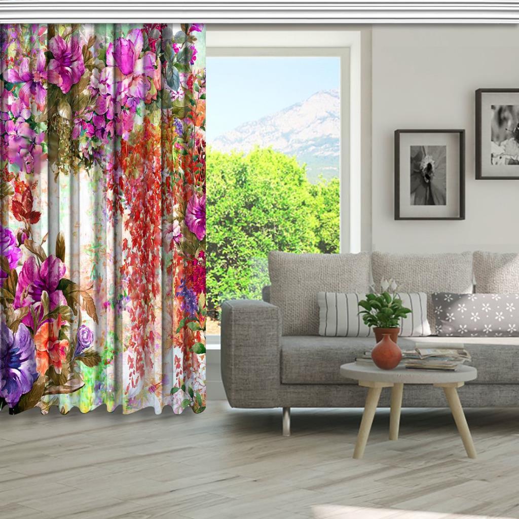 baskılı fon perde suluboya etkili bahçe çiçekleri desenli