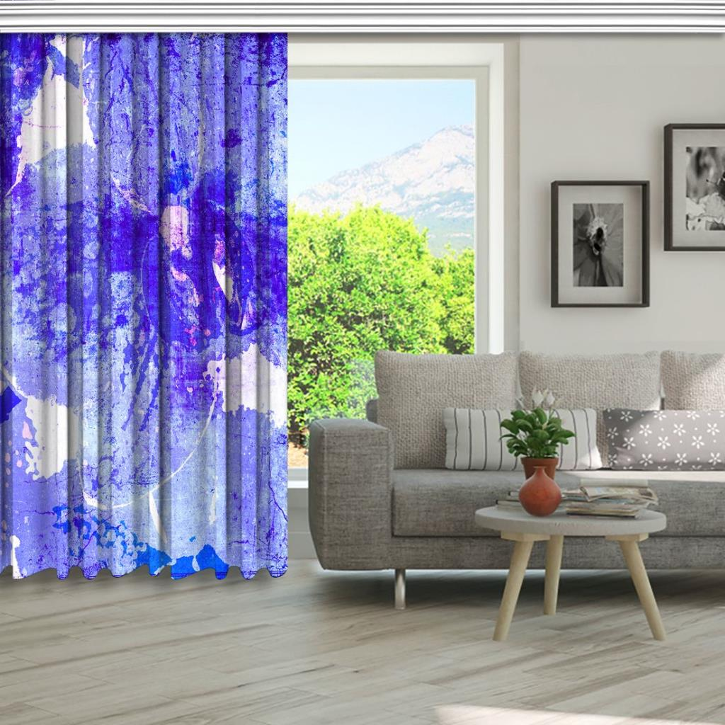 baskılı fon perde suluboya etkili mor lila renkli orkide desenli