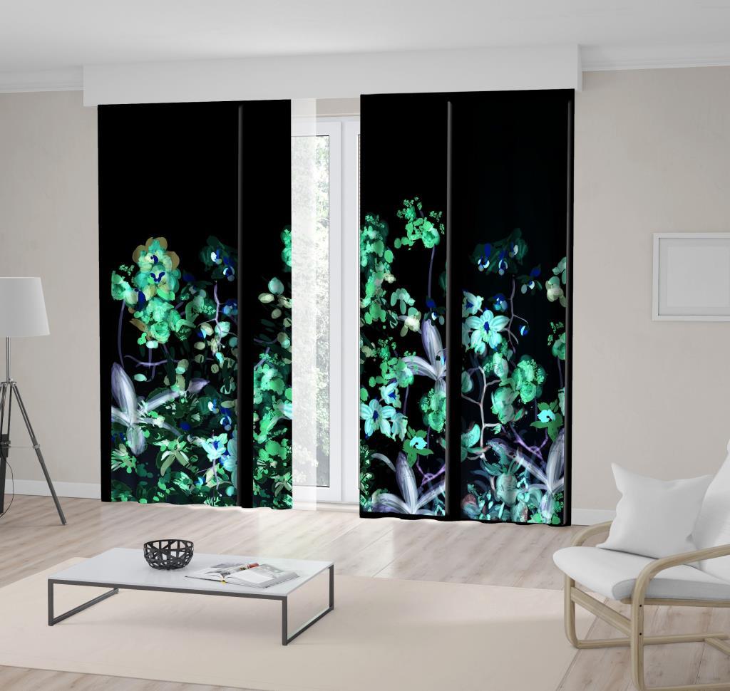 baskılı fon perde suluboya etkili üç bölmeli tropik çiçek desenli