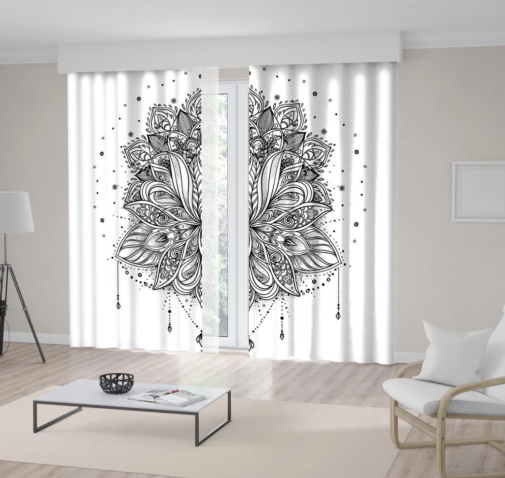 baskılı fon perde syah beyaz lotus çiçeği desenli
