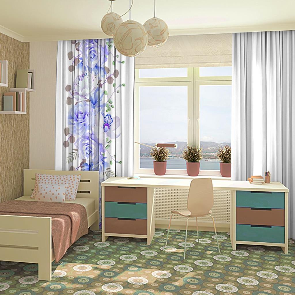 baskılı fon perde tek kenarda mavi lila gül ve orkideler desenli
