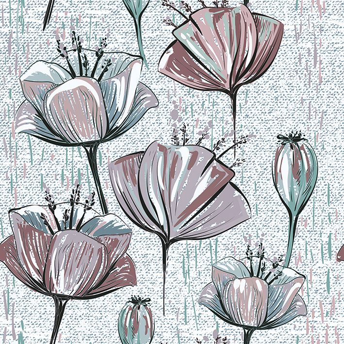 baskılı fon perde tomurcuk ve çiçek etkili pudra ve gri renk desenli