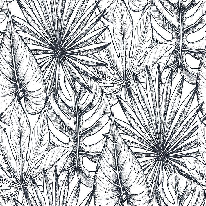 baskılı fon perde tropik çiçekler palmiye yaprakları desenli
