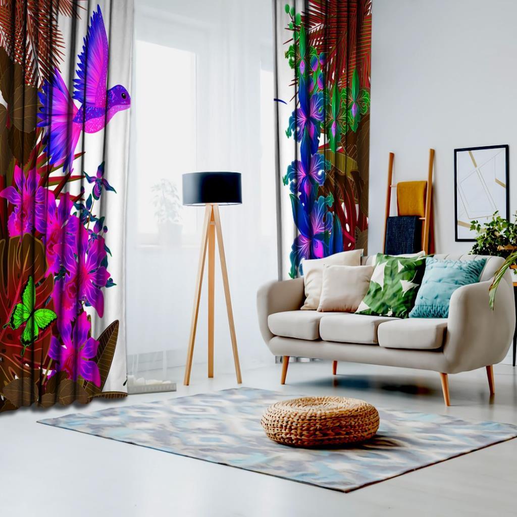 baskılı fon perde tropik neon yapraklar üzerine neoan arı kuşu desenli