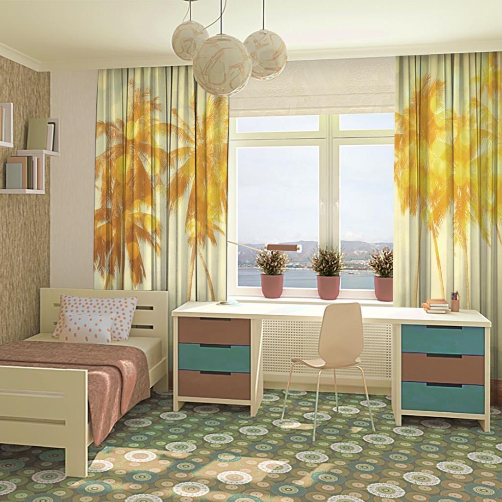 baskılı fon perde tropik sahilde palmiye ağaç desenli