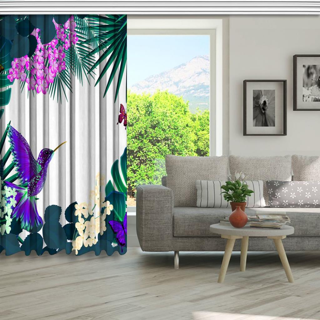 baskılı fon perde tropik yaprak ve çiçek üzerine mor kuş kelebek desenli