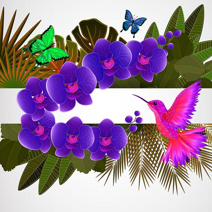baskılı fon perde tropik yapraklar üzerine mor orkide pembe kuş desenli