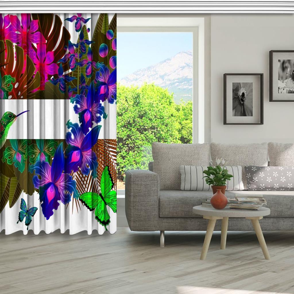 baskılı fon perde tropik yapraklar üzerine mor orkide yeşil kuş desenli