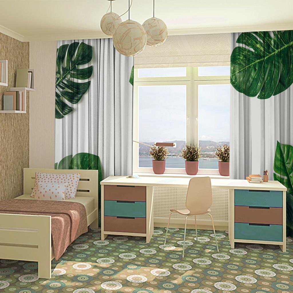baskılı fon perde tropikal görünümlü palmiye yaprak desenli