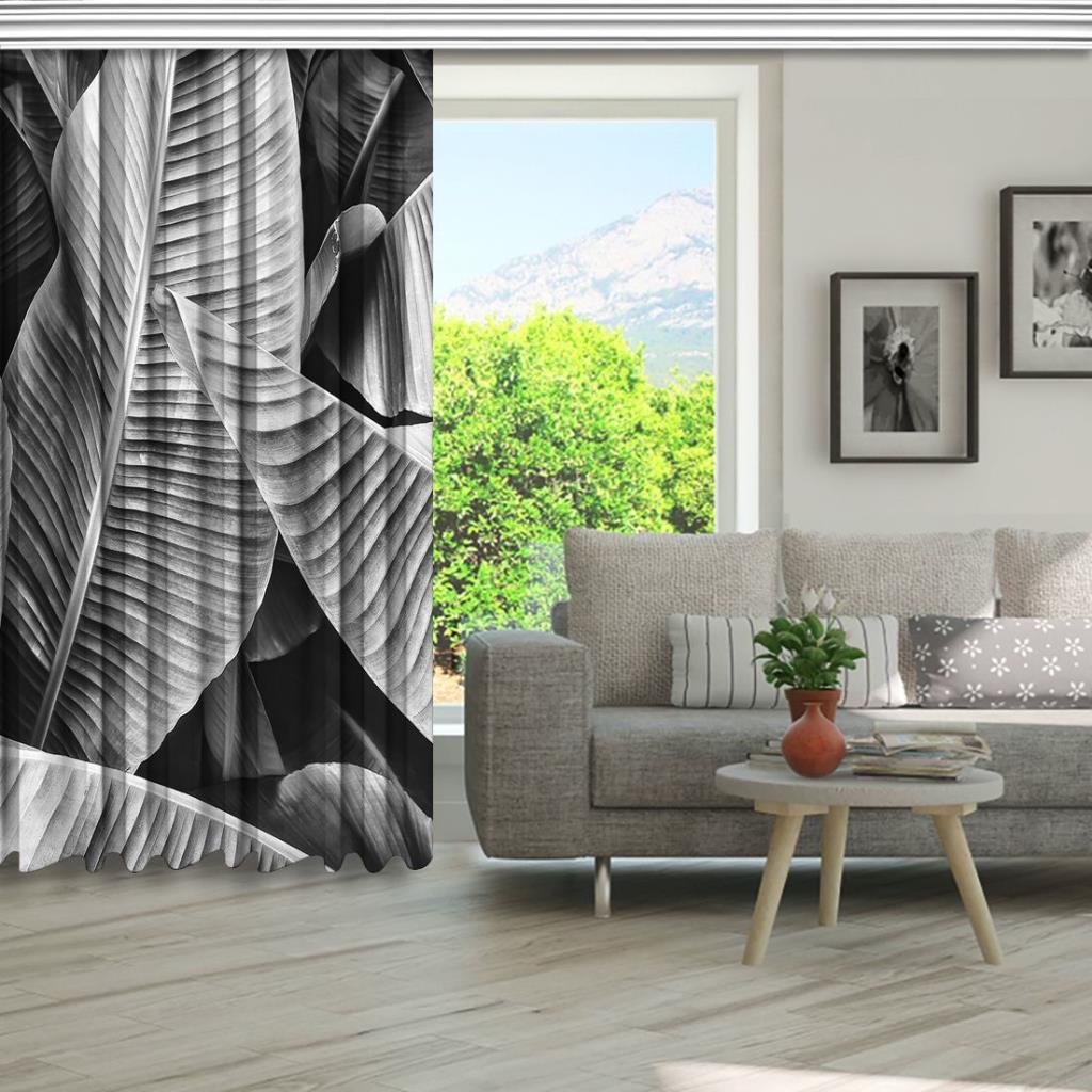 baskılı fon perde tropikal orman palmiye yaprak desenli