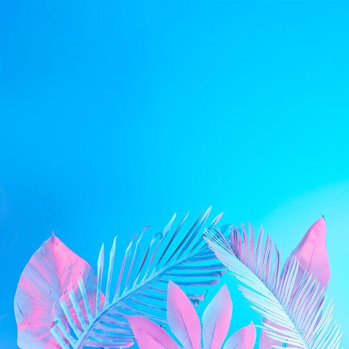 baskılı fon perde tropikal palmiye yaprak desenli pembe mavi