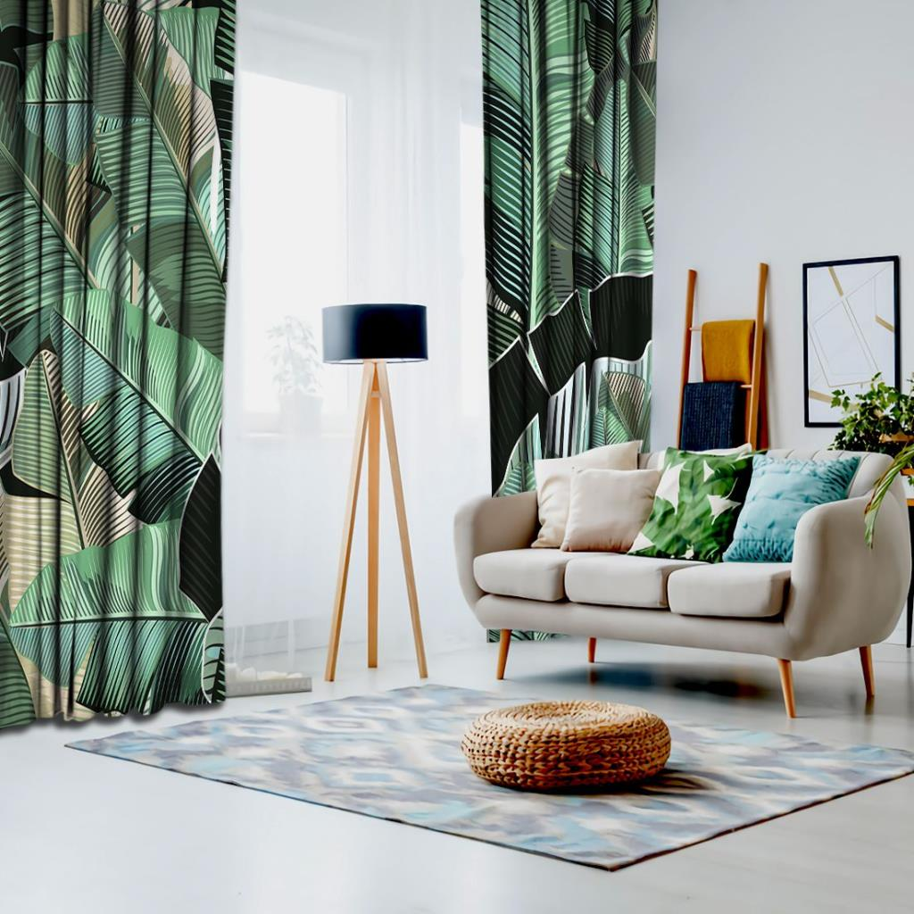 baskılı fon perde tropikal palmiye yaprak desenli siyah yeşil