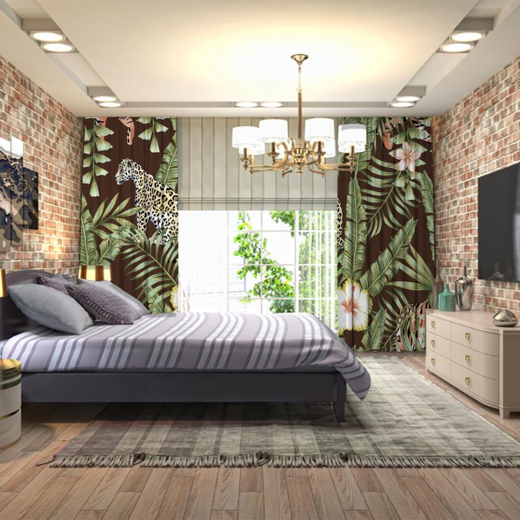 baskılı fon perde tropikal yaprak etkili kaplan desenli