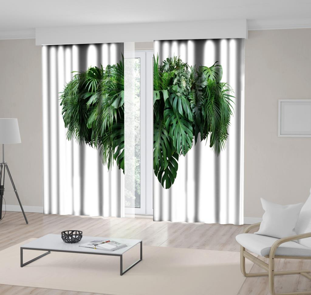 baskılı fon perde tropikal yeşillik yaprak desenli