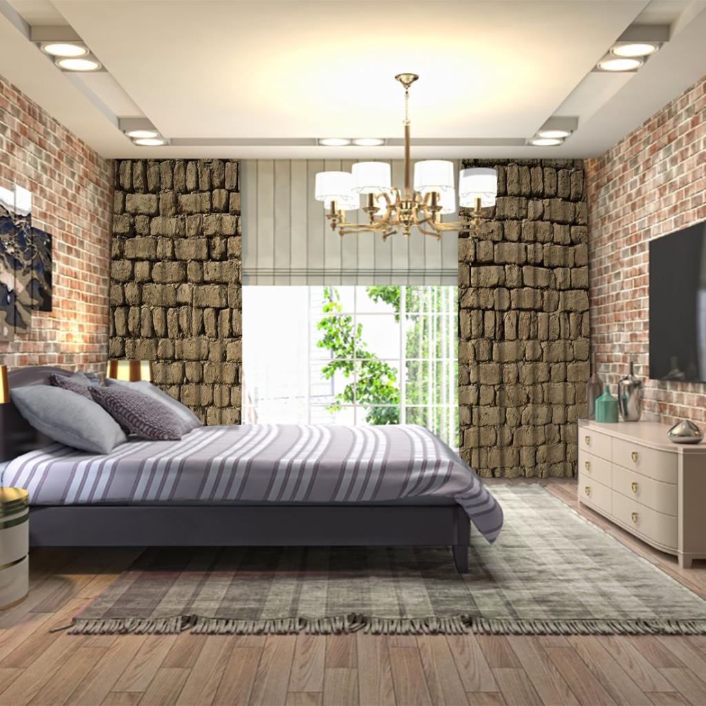 baskılı fon perde tuğla duvar görünümlü desenli