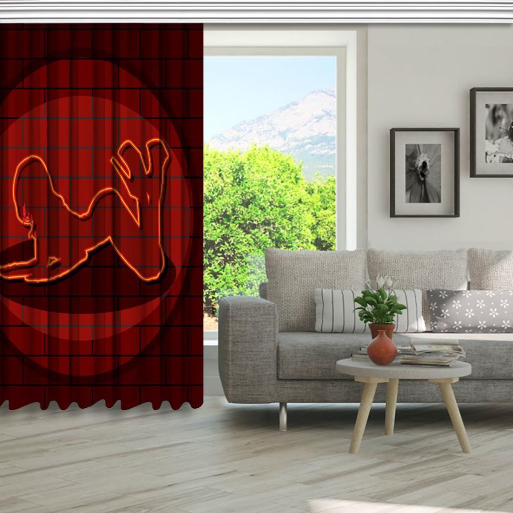 baskılı fon perde tuğla duvar parlayan kız görsel desenli