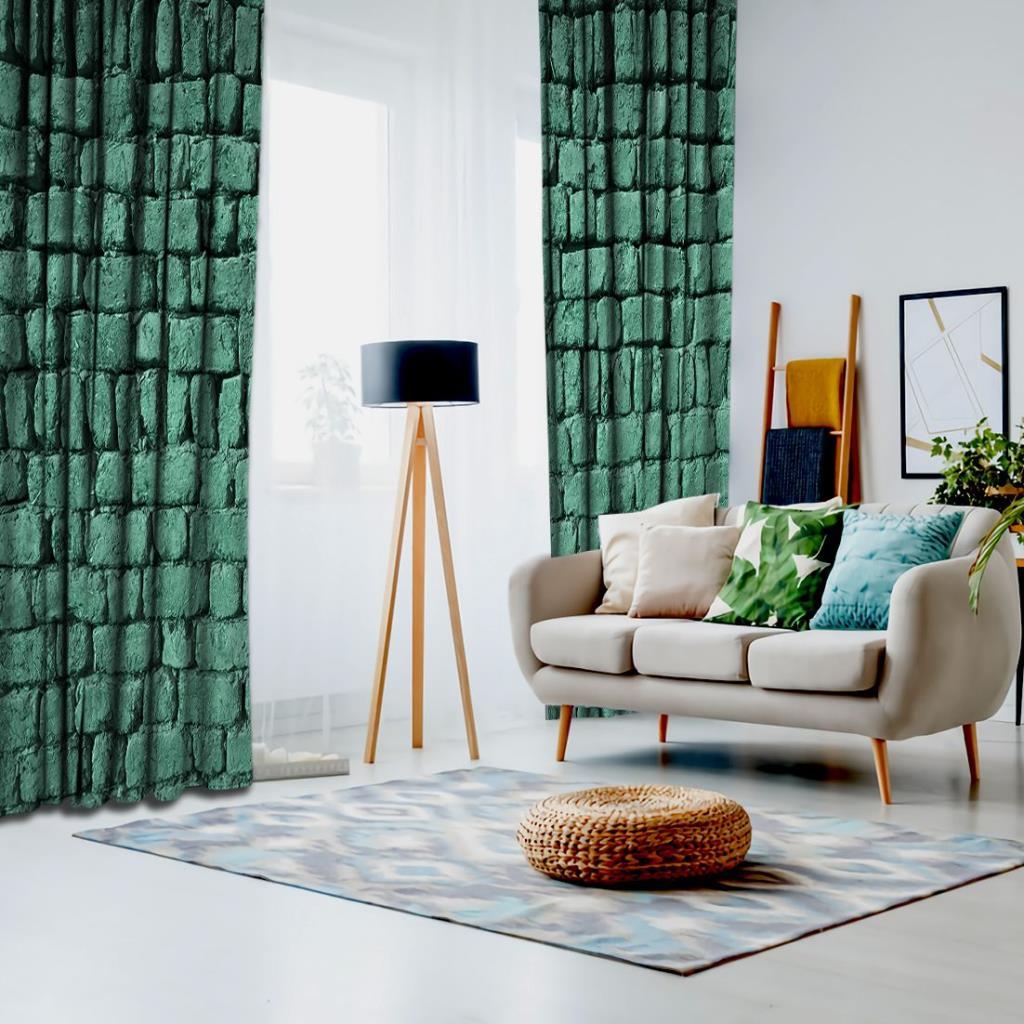 baskılı fon perde turkuaz renk taş desenli