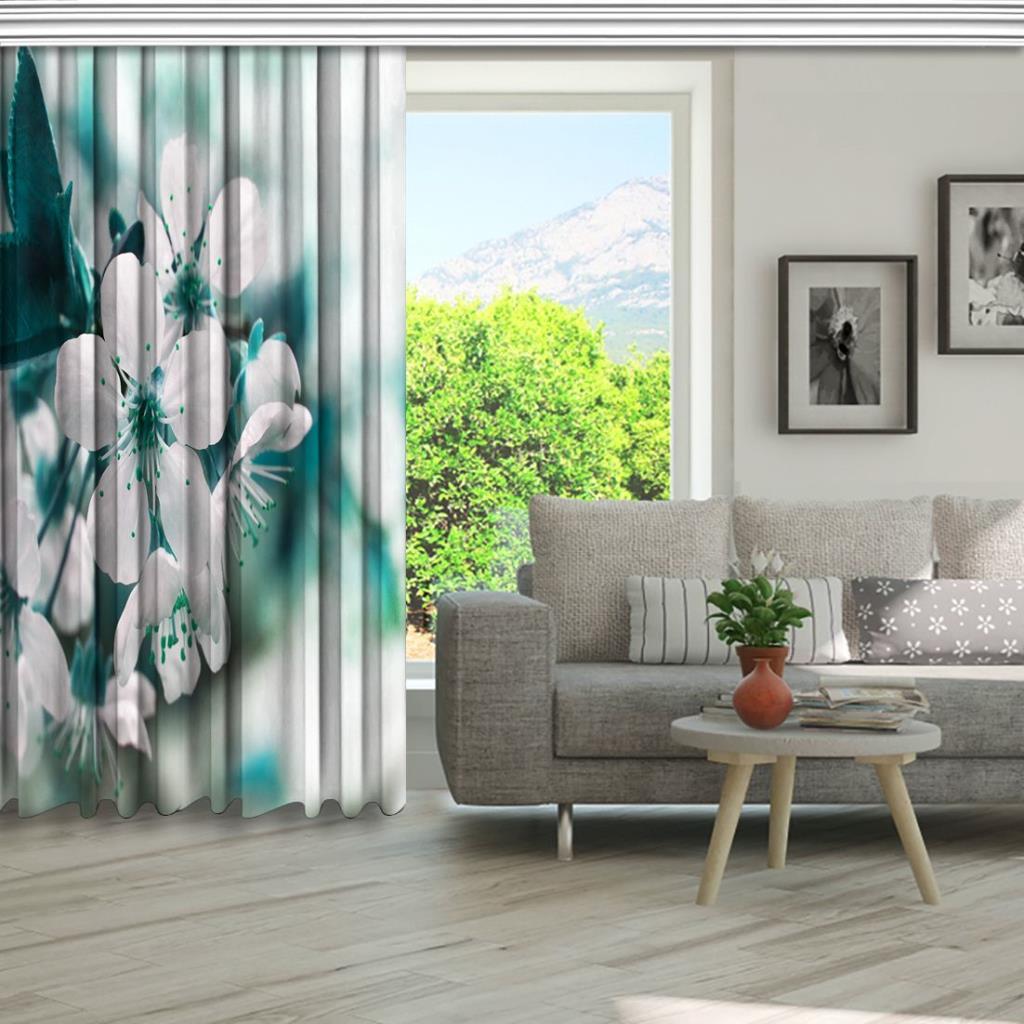 baskılı fon perde turkuaz ve beyaz renk etkili bahar dalı desenli