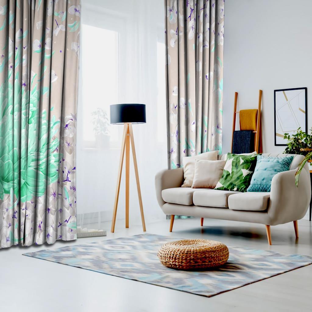 baskılı fon perde turkuaz ve krem renk etkili bahar desenli