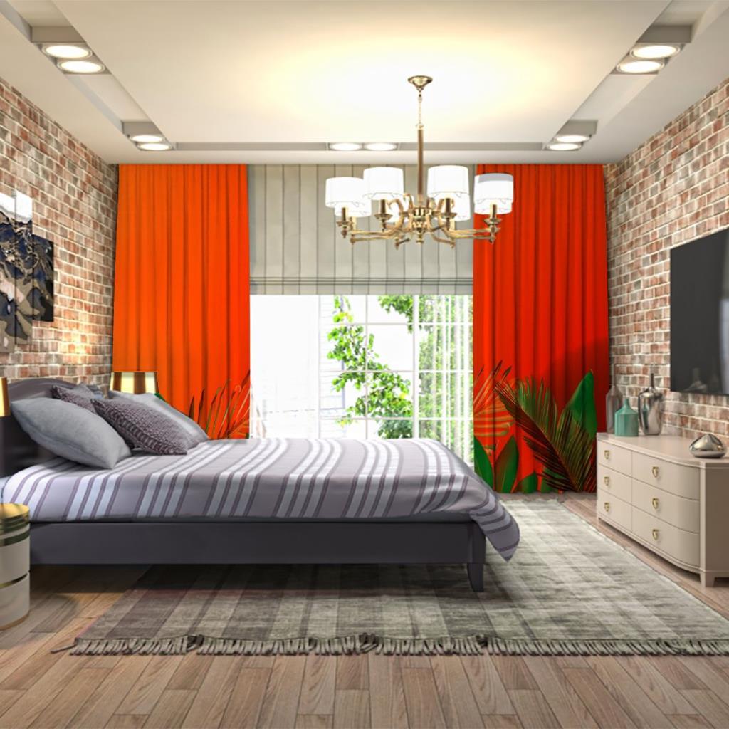 baskılı fon perde turuncu arka plan etkili palmiye yaprak desenli