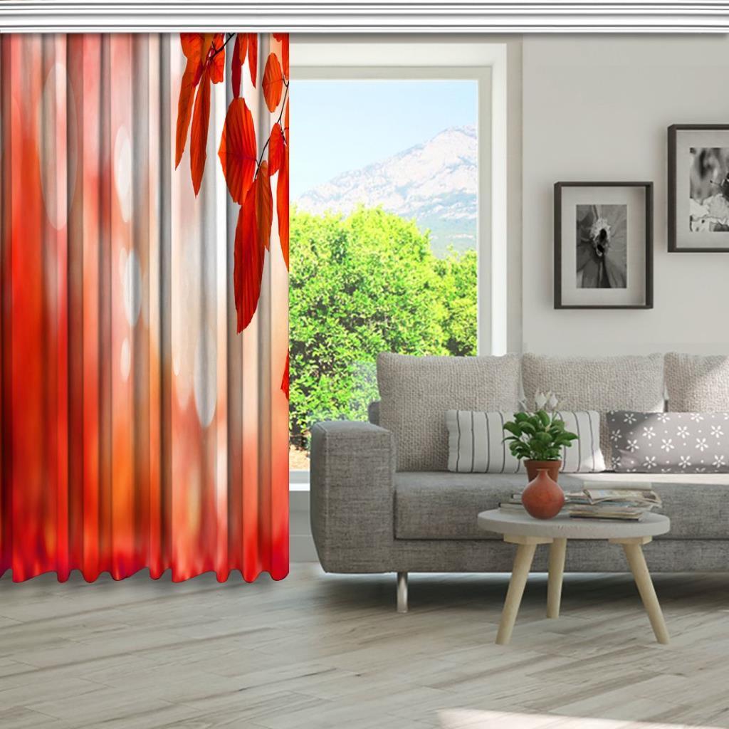 baskılı fon perde turuncu ve kırmızı renk yaprak desenli