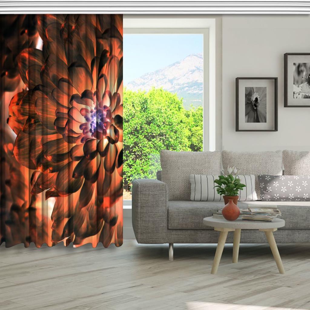 baskılı fon perde turuncu ve mor etkili çiçek desenli