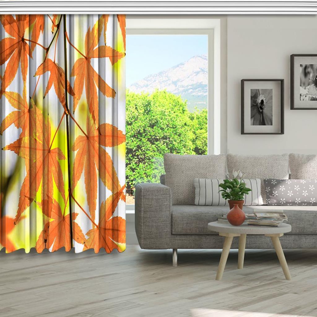 baskılı fon perde turuncu ve sarı renk etkili sonbahar yaprak desenli