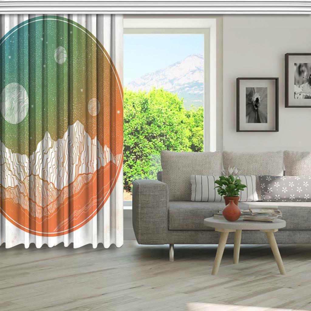 baskılı fon perde turuncu ve yeşil renk etkili dağ ve ay desenli