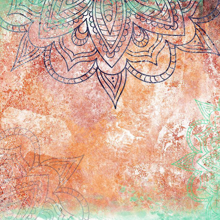 baskılı fon perde turuncu ve yeşil renk etkili mandala desenli