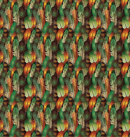 baskılı duş perde turuncu yeşil kuş tüylü desenli renkli