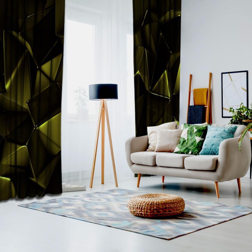 baskılı fon perde üçgen desen etkili yeşil renk desenli