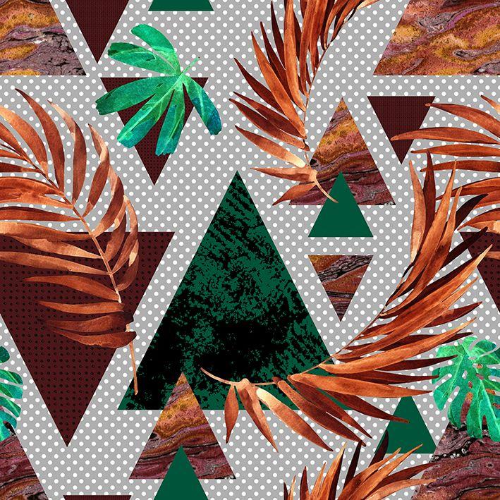 baskılı fon perde üçgen desen turuncu ve yeşil renk desenli