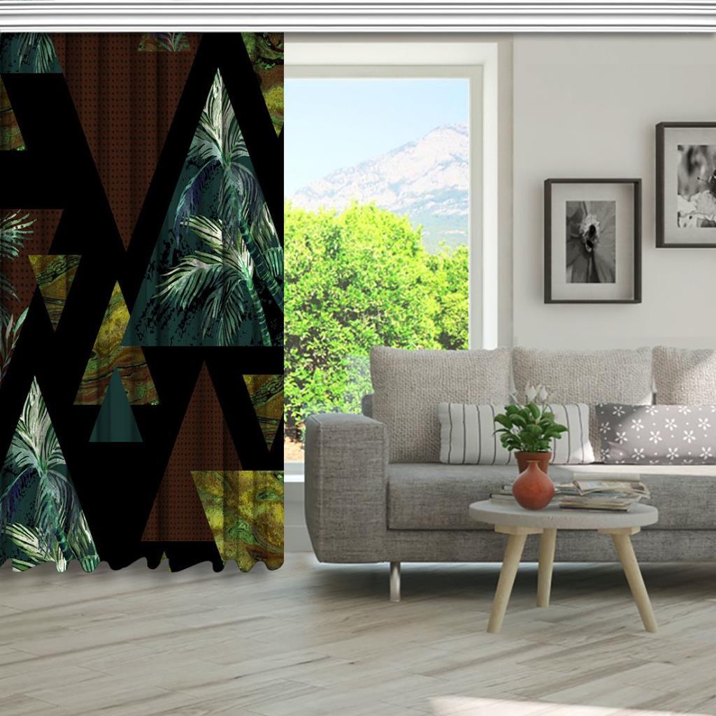 baskılı fon perde üçgen ve palmiye etkili kahverengi ve yeşil desenli