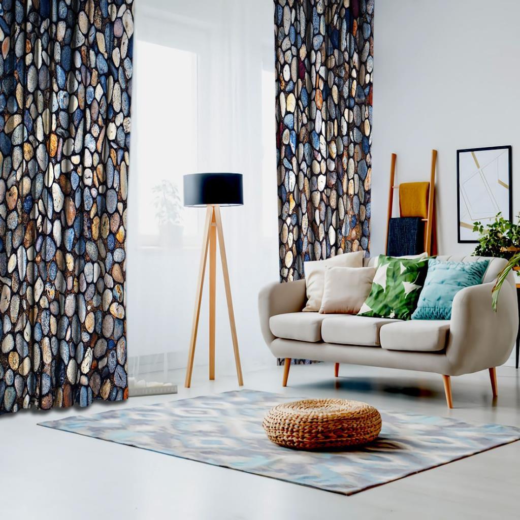 baskılı fon perde ufaklı mavi sarı ve gri renkli doğal taş desenli