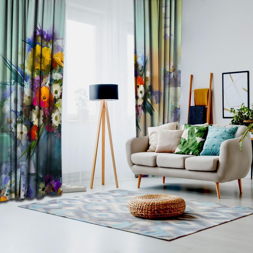 baskılı fon perde vazoda yaglı boya etkili çiçek desenli