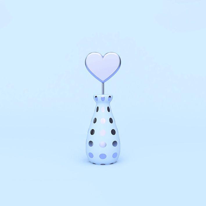 baskılı fon perde vazodan çıkan tekli buz renkli kalp desenli