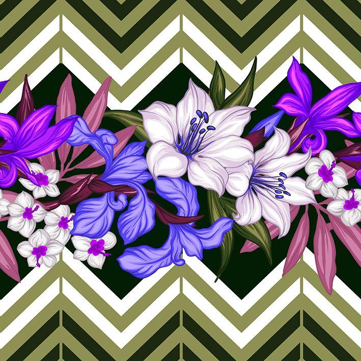 baskılı fon perde yağ yeşili zigzak çizgli tropik çiçekler desenli