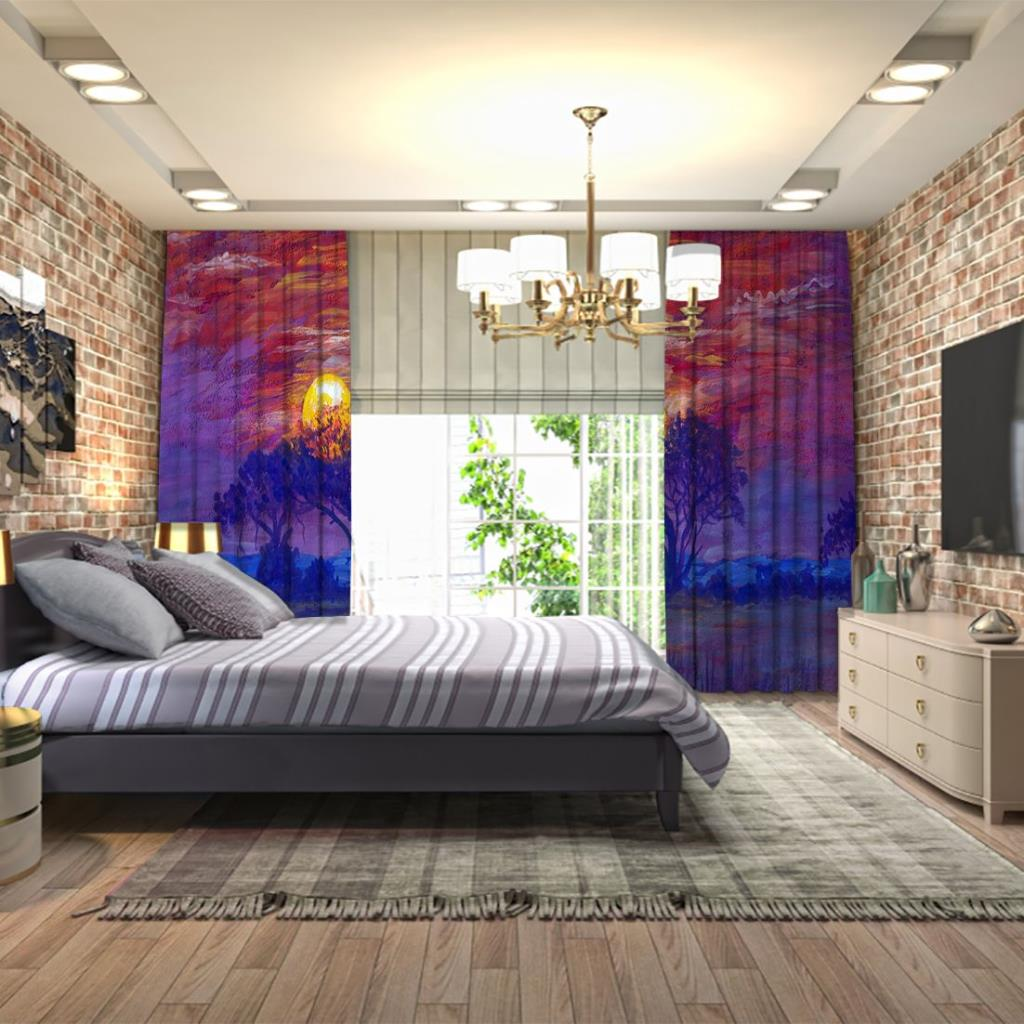 baskılı fon perde yağlı boya etkili afrika manzara desenli