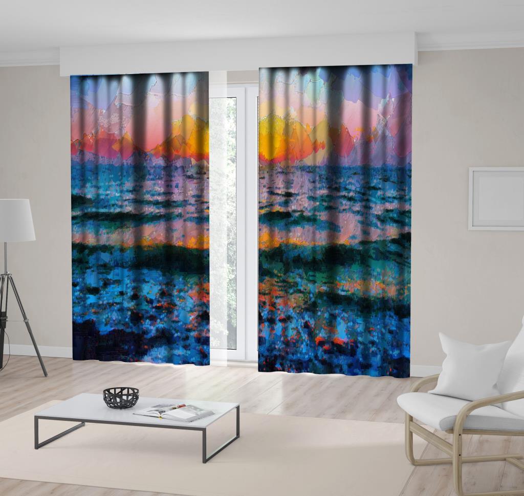 baskılı fon perde yağlı boya etkili deniz dalga güneş desenli